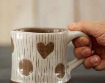 dots + hearts mug - 12 oz - rustic white and brown - READY TO SHIP