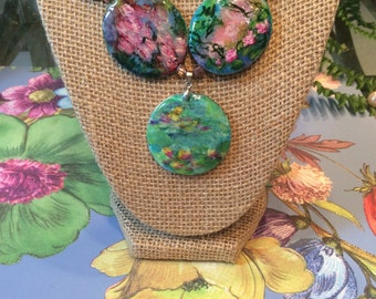 Monet water lilies necklace. Hand painted one of a kind statement necklace. Gift for her.
