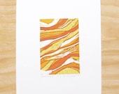 "Woodcut Print ""Earth Layers"" Yellow Geology Art Printmaking"