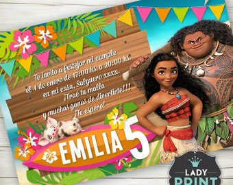 Moana Birthday Invitation. Printable invitation. Digital File Customized Party Invitation