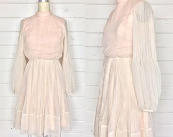 Vintage 1960s Blush Pink Chiffon Party Dress / Poet Sleeves / Accordion Pleats / Ballerina
