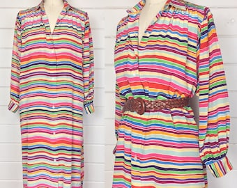 Vintage 1980s Rainbow Striped Silk Shirtdress / Shift / Made by Manson /