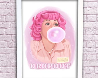 """Frenchy """"DROPOUT"""" Grease Art Print  Illustration A3 PINK LADIES"""