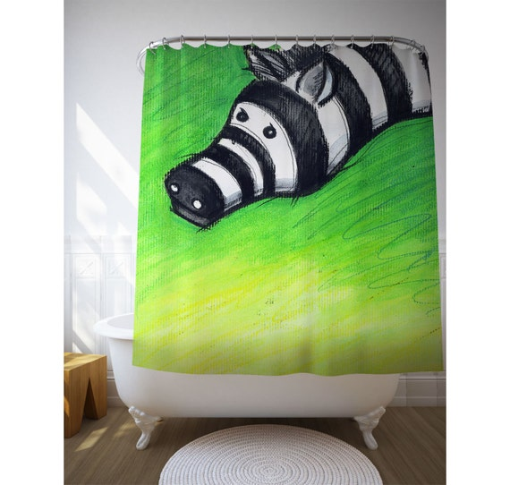 Kids Shower Curtain, Green Decor, Bathroom Art, Animal Illustration, Shower Decoration, Children Bath Art