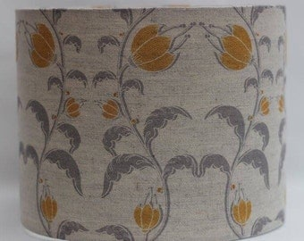 Handmade mustard/tumeric and grey fuchsia/flower on natural linen/cotton fabric drum lampshade