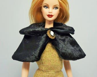 Black velour cape, Handmade barbie dolls dress【Atelier Danser Robe】