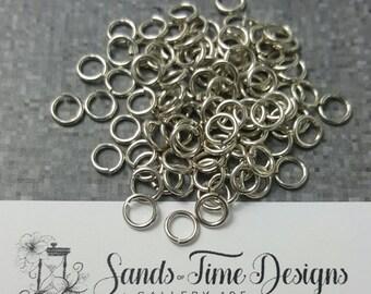 Sterling Silver Saw Cut Open JUMP RINGS 4mm ID, 18 gauge/1mm wire - 100 rings
