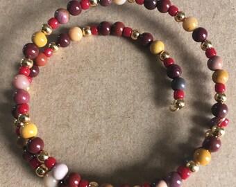 Antique Brass Turtle Charm Mookaite Jasper Memory Wire Gemstone Bracelet and Earring Set