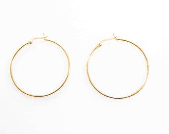 Vintage 925 Signed Gold Tone Simple Hoop Earrings