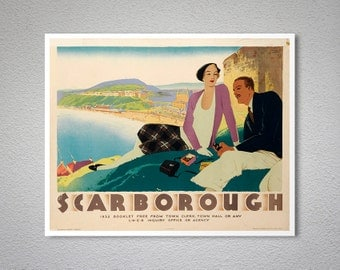 Scarborough Vintage Travel Poster, 1932 - Poster Print, Sticker or Canvas Print / Gift Idea