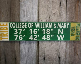 College of William & Mary Sign, William and Mary Decor, Tribe Sign, William and Mary Tribe, William and Mary Wall Art