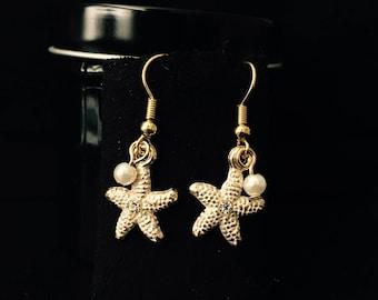 Gold Starfish Pearl Earrings