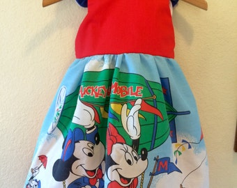Vintage Mickey Minnie Mouse Hot air Balloon dress Girls size 3t 4t 5 6 8 10 12 14 Walt Disney World Land