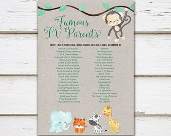 Printable Baby Shower Game, TV Parents, Famous Parents, Jungle Animals, Characters, Kraft, Jungle, Jungle Baby Shower, Digital, MB197