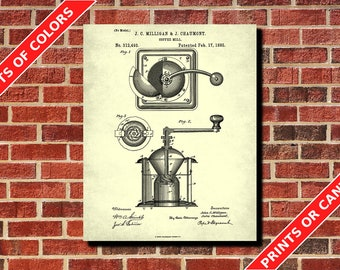 Coffee Grinder Patent Print, Cafe Art Poster, Kitchen Wall Art, Coffee Poster, Coffee Decor