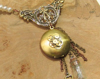 Steampunk Pearl Necklace, Steampunk Locket Necklace, Pearls, Brass Locket, Key, Chains, Cogs, Opening Locket, Steampunk Vial, Sapphire