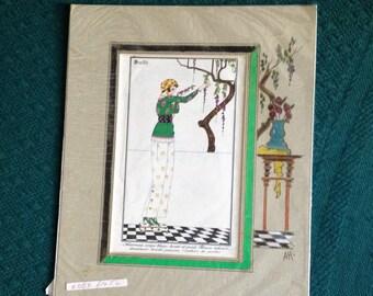Charles Martin 1912 Journal des Dames et des Modes Costumes Parisiens Pochoir No. 20 Original Fashion Plate Lot 2 Costume Print