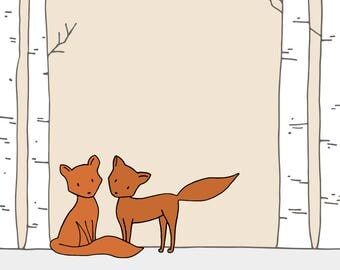 Woodland Nursery Art Print! Fox nursery wall art- Children's room decor - Customizable nursery art print - Woodland nursery wall art!