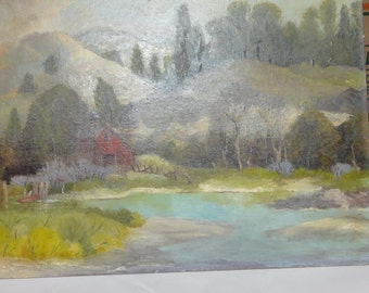 Vintage Oil On Board/ Rowboat/Red Barn/ Trees/ Hills/ Impressionist Style