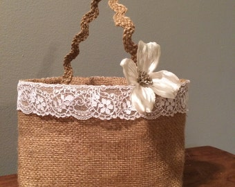 Burlap flower girl basket, basket alternative