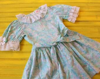 Vintage 3T GIRL Blue & Sea Green Floral Print Easter Dress, vintage spring dress 3T, retro girl dress 3T, vintage easter dress 3T