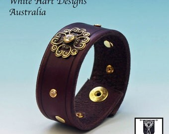 Purple Leather Wrist Cuff with Brass Medieval Scroll Design and Swarovski Crystals