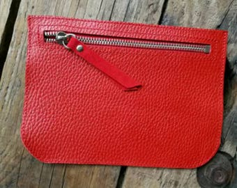 """Album cover """"Pauline"""" in red grained leather and leather red velvet"""