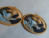 Gold, Light Blue, Navy Blue, Tan, Brown and Light Grey African Hip Hop Crochet Hoop Earrings