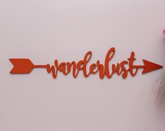 Wanderlust Sign, Wanderlust Arrow Wood Sign, Explorer Decor, Travel Decor, Kids Room Decor, Nursery Sign, Boho Nursery Arrow Sign, Adventure