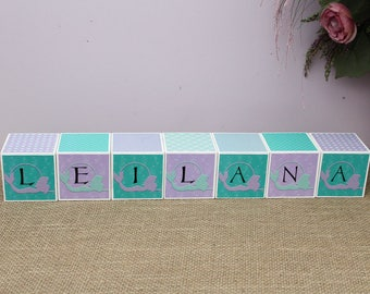 Personalised Baby Name Cube, Baby Shower Gift, Name Letter Blocks, Mermaid Nursery Decoration, Wooden Cube, 3x3x3 Baby Blocks, Pink Teal