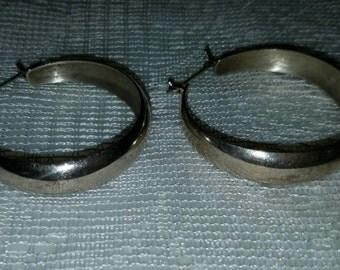 Large 925 Mexico Silver Vintage Hoop Earrings
