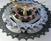 Sprocket clock: bikes, bicycles, cycling... unique wall clock - handmade from reclaimed, upcycled bicycle parts (medium)