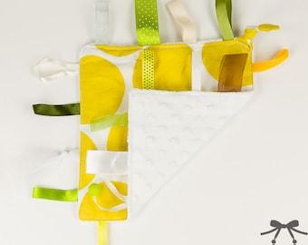 Baby Crinkle Toy, Taggie Toy, Sensory Toy, Taggie Blanket, Lemon