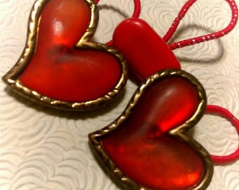 Vintage Red Lucite Heart Pony Tail Bands