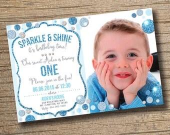 Sparkle and Shine Boy First Birthday Invitation, Photo Invitation, 1st Birthday Invitation, Boys Birthday Party, Sparkle & Shine Birthday