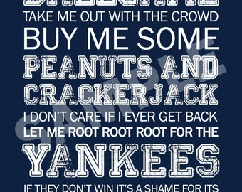 NY Yankees Word Art 5x7 Print / Sign - Take Me Out to the Ballgame - New York Yankees Subway Art Print