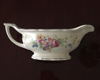 Carrollton Gravy Boat With Flowers and Silver Trim