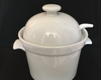 Classic White Soup Tureen and Ladle Vintage Century Stoneware