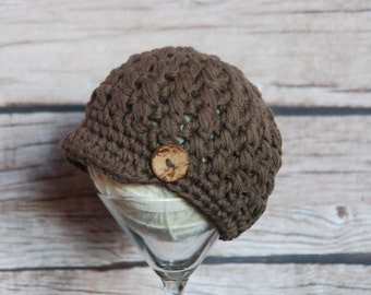 Ready to ship newsboy hat 0-3 months, newsboy hat for baby boy or girl, cotton beanie for baby, baby photo prop, baby shower gift,