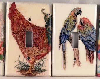 Light Switch Cover Plate -  Fairy, Rooster, Parrots, , Macaws