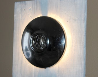 Vintage Industrial Man cave VW Hubcap Lamp from repurposed Volkswagen hub cap!