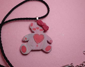Pink teddy bear, polymer clay, pendant necklace