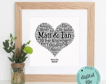 Personalised 10TH ANNIVERSARY GIFT - Word Art - Printable Art - Unique Gift - 10 Year Anniversary - Anniversary Card - Gift for couple