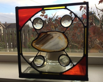 Candle Holder, Stained Glass, Stained Glass panel, Agate Slice, Agate Candle Holder, Agate and Glass panel, Votive Holder, Tea light holder