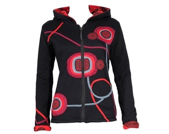 Colourful zip hoodie with playful patchwork details - fleece lining - Yoga - Hippie Chic - GURU (red)