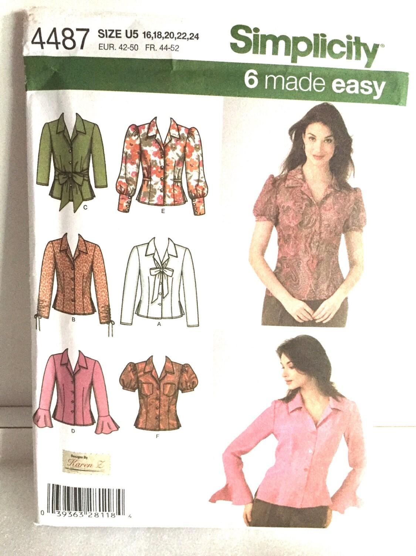Simplicity Pattern Misses Shirt Ladies Blouse 6 Shirt