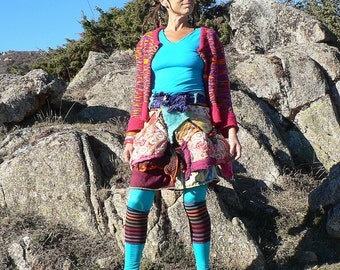 Skirt in patchwork of multiple materials and colors