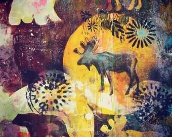 Moose Tracks, Moose Love, Moose Art, Wildlife, Rustic Home Decor, Wall Art