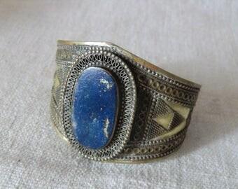 Bracelet with lapis lazuli 925 Silver true vintage cuff