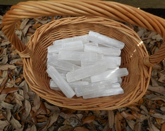 Selenite Gypsum Stick Wand Blades  2 POUNDS  Wholesale Bulk 2-3 Inches